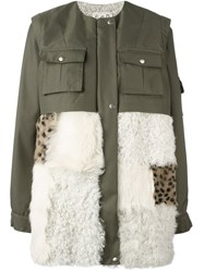 Sea Fur Panel Military Coat Green