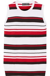 Dolce And Gabbana Striped Cashmere And Silk Blend Tank Red White