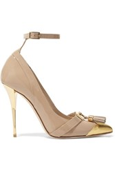 Balmain Embellished Patent Leather Pumps Neutral