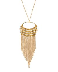 Panacea Long Golden Beaded Fringe Pendant Necklace