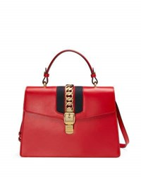 Gucci Sylvie Leather Top Handle Satchel Bag Red