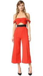 Self Portrait Cutout Jumpsuit Red Black