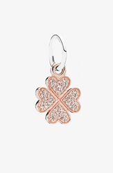 Pandora Design 'Symbol Of Lucky In Love' Shamrock Dangle Charm Rose Gold Clear Cz