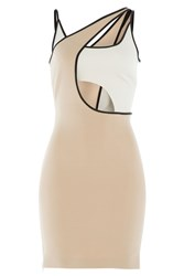 David Koma Cutout Mini Dress Beige