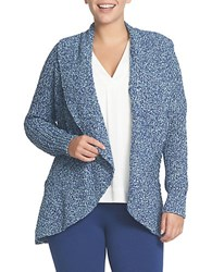 Chaus Drape Front Cable Stitch Cardigan Navy