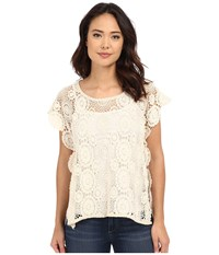 Bcbgeneration Embrace The Lace High Low Poncho Natural Women's Short Sleeve Pullover Beige