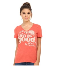 Life Is Good Cool Vee Chili Red Women's Short Sleeve Pullover