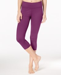 Gaiam Luxe Yoga Capri Leggings Bright Wine Patchwork