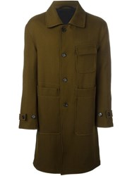 Ann Demeulemeester Patched Flap Pockets Coat Brown