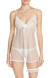 In Bloom By Jonquil Women's 'Jennifer' Babydoll Chemise And Garter White