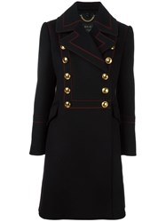 Burberry Double Breasted Military Coat Black