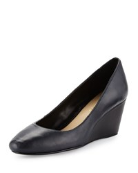Taryn Rose Kathleen Leather Wedge Pump Navy