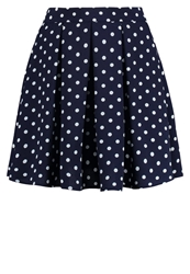 Louche Favna Mini Skirt Navy Cream Dark Blue