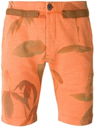Paul Smith Leaf Print Track Shorts Yellow And Orange