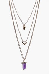 Boohoo Crystal Pendant Skinny Layered Necklaces Gold