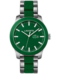 Lacoste Men's L.12.12 Stainless Steel And Green Silicone Bracelet Watch 43Mm 2010892