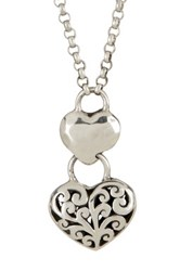 Lois Hill Sterling Silver Signature Cutout Double Heart Pendant Necklace Metallic