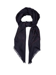 Gucci Wool And Silk Blend Bees And Star Print Scarf Navy Multi