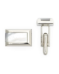 The Men's Store At Bloomingdale's Polished Rhodium Mother Of Pearl Rectangle Cufflinks Silver