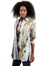 Topshop Marble Print Button Front Tunic Shirt Blue Multi