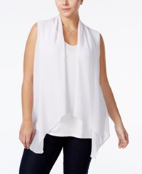 Ing Plus Size Layered Look Vest Top White