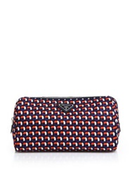 Prada Multicolor Octagon Patterned Nylon Cosmetic Bag