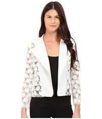 Yigal Azrouel Lace Moto Leather Jacket White