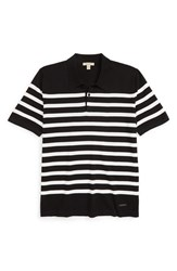 Burberry Men's 'Highlands' Stripe Polo Black White