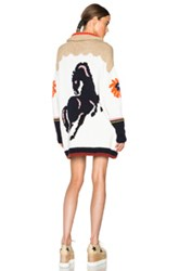 Stella Mccartney Heavy Horse Intarsia Cardigan In White Neutrals Floral