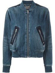 Diesel Denim Bomber Jacket Blue