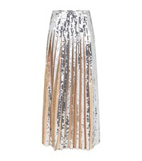 Emilio Pucci Sequin Pleated Midi Skirt Female Silver