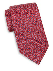 Saks Fifth Avenue Mosaic Neat Silk Tie Red