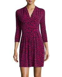 Catherine Catherine Malandrino Jersey Animal Print 3 4 Sleeve Dress Electric Pink