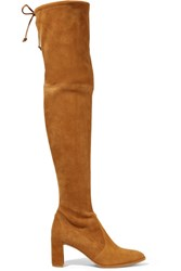 Stuart Weitzman Tieland Suede Over The Knee Boots Tan