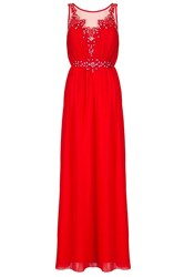 Quiz Red Chiffon Embroidered Maxi Dress Red