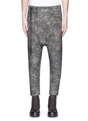 Den Im By Siki Im Camouflage Print Cropped Drop Crotch Sweatpants Green Multi Colour