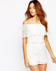 Michelle Keegan Loves Lipsy Off Shoulder Lace Playsuit White