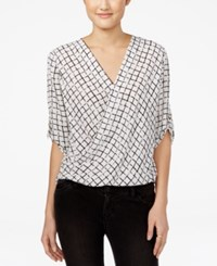 Amy Byer Bcx Juniors' High Low Wrap Top Black White Print