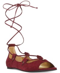 Carlos By Carlos Santana Eden Peep Toe Lace Up Flats Women's Shoes Malbec