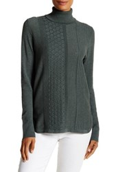Cullen Multi Stitch Turtleneck Sweater Green