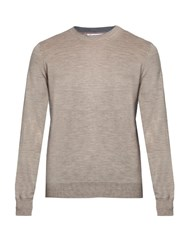 Brunello Cucinelli Crew Neck Wool And Cashmere Blend Sweater Beige