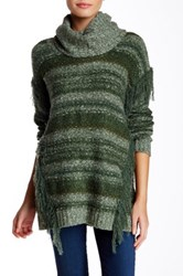 Kensie Cowl Neck Mixed Knit Sweater Green
