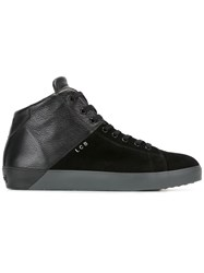 Leather Crown Lace Up Hi Tops Black