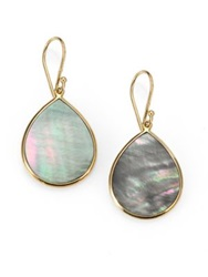 Ippolita Polished Rock Candy Black Shell And 18K Yellow Gold Mini Teardrop Earrings