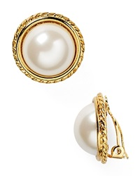 Carolee Rope Imitation Pearl Clip On Earrings White