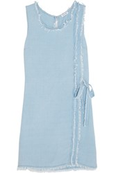 Splendid Frayed Washed Crepe De Chine Mini Dress Sky Blue