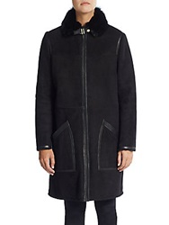 Hugo Boss Leather Trimmed Shearling Coat Black