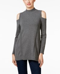 Styleandco. Style Co. Cold Shoulder Mock Neck Sweater Only At Macy's Steel Grey Heather