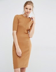 Y.A.S Boni Ribbed Bodycon Dress In Knit Tobacco Brown