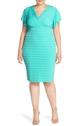 Plus Size Women's London Times Matte Jersey Shutter Pleat Surplice Sheath Dress Aqua
